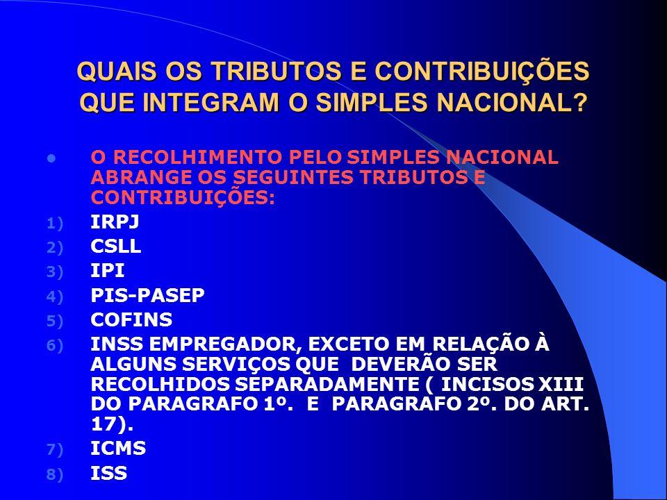 QUAIS OS TRIBUTOS E CONTRIBUIÇÕES QUE INTEGRAM O SIMPLES NACIONAL