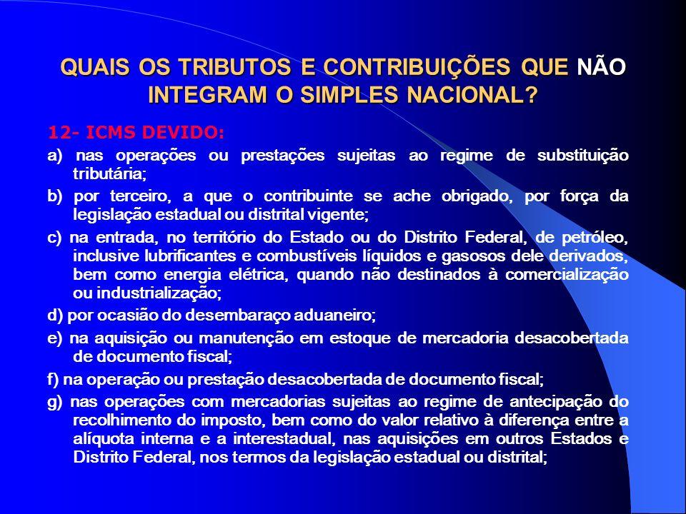 QUAIS OS TRIBUTOS E CONTRIBUIÇÕES QUE NÃO INTEGRAM O SIMPLES NACIONAL