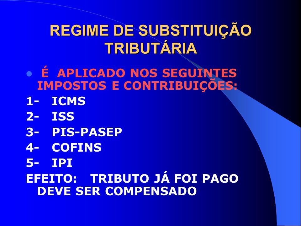 REGIME DE SUBSTITUIÇÃO TRIBUTÁRIA