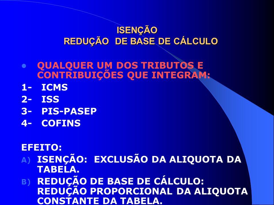 ISENÇÃO REDUÇÃO DE BASE DE CÁLCULO