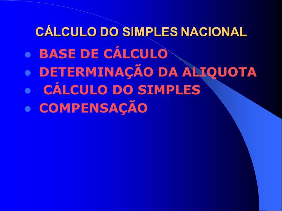 CÁLCULO DO SIMPLES NACIONAL