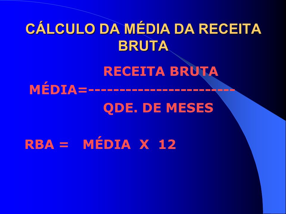 CÁLCULO DA MÉDIA DA RECEITA BRUTA