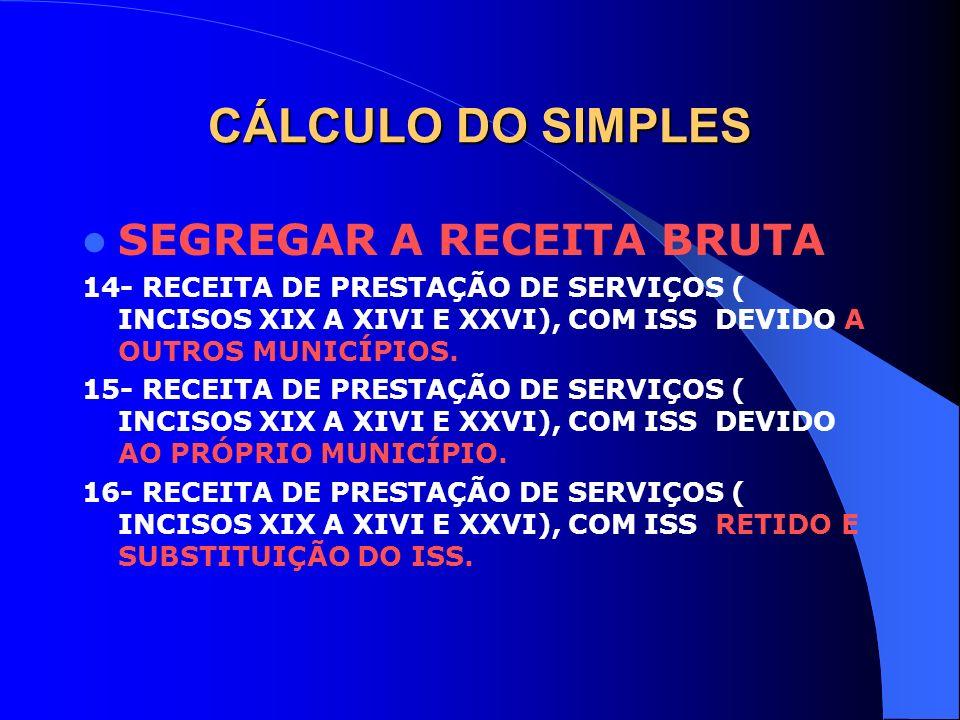 CÁLCULO DO SIMPLES SEGREGAR A RECEITA BRUTA
