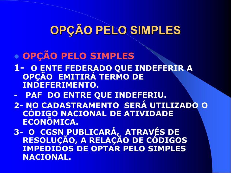 OPÇÃO PELO SIMPLES OPÇÃO PELO SIMPLES