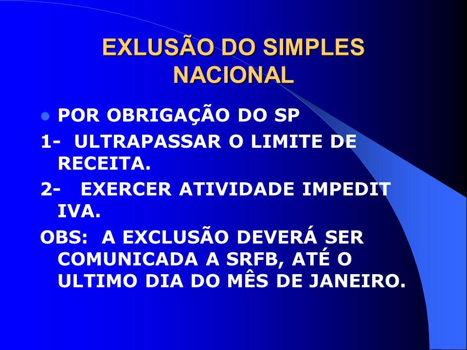 EXLUSÃO DO SIMPLES NACIONAL