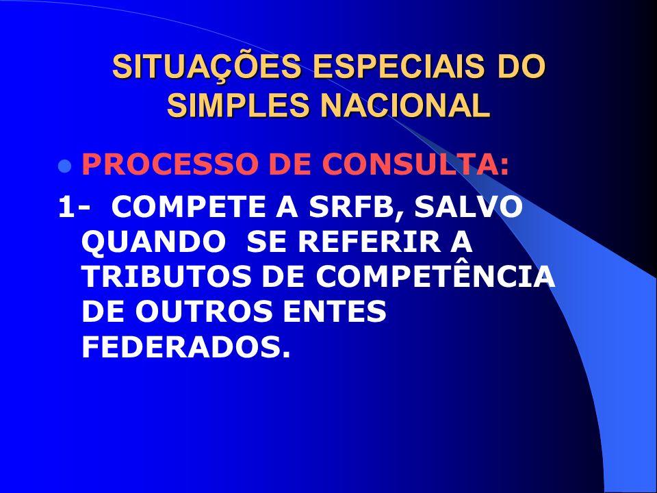 SITUAÇÕES ESPECIAIS DO SIMPLES NACIONAL