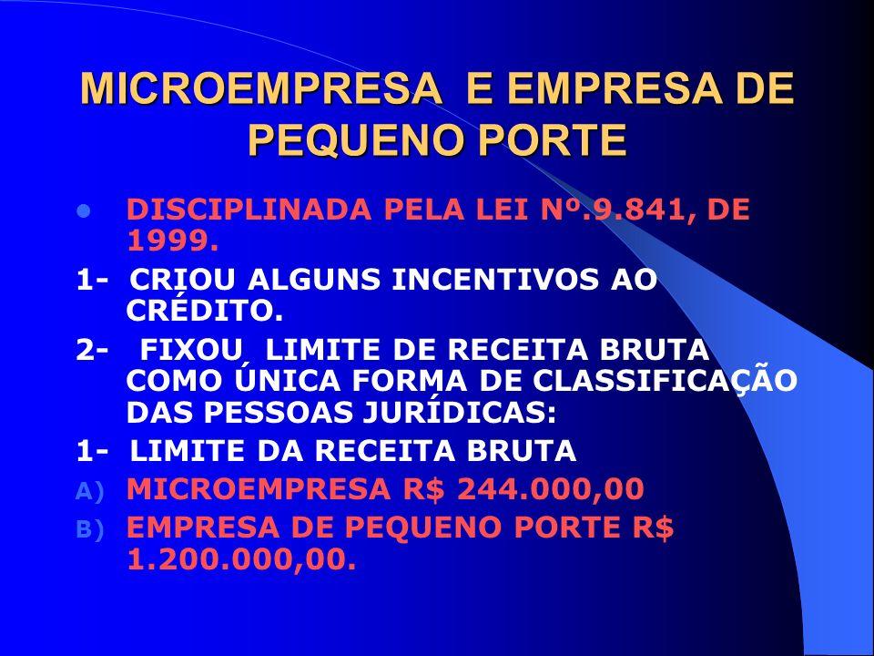 MICROEMPRESA E EMPRESA DE PEQUENO PORTE