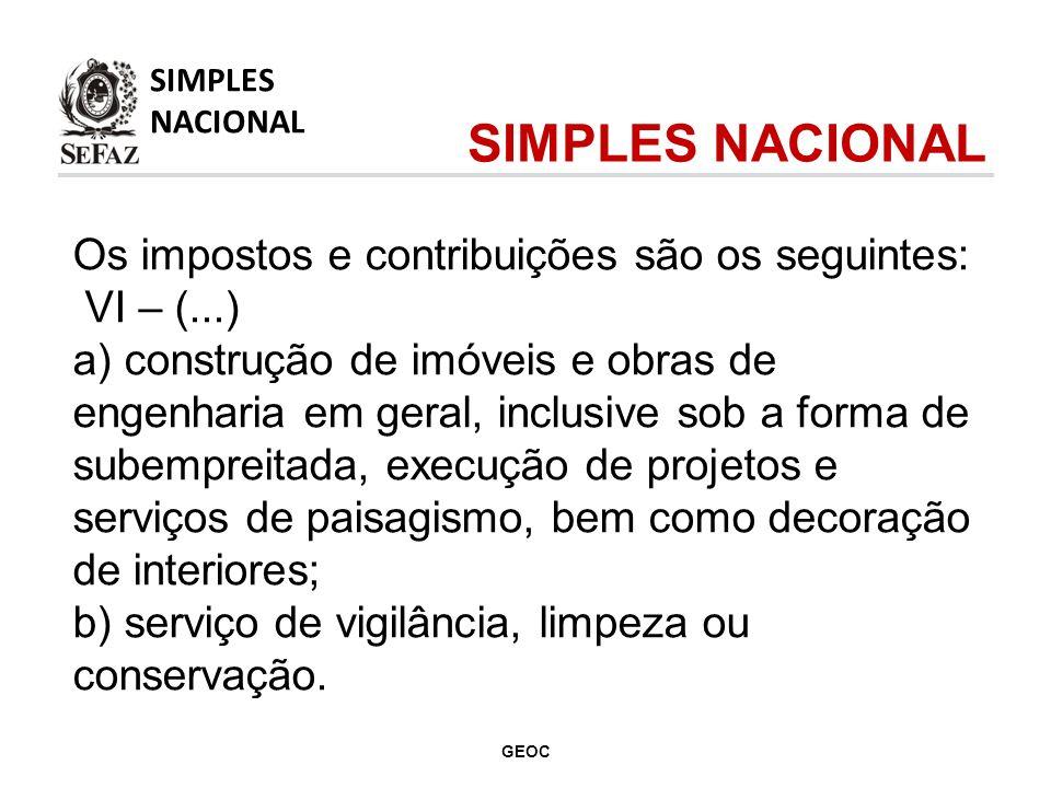 SIMPLES NACIONAL Os impostos e contribuições são os seguintes: