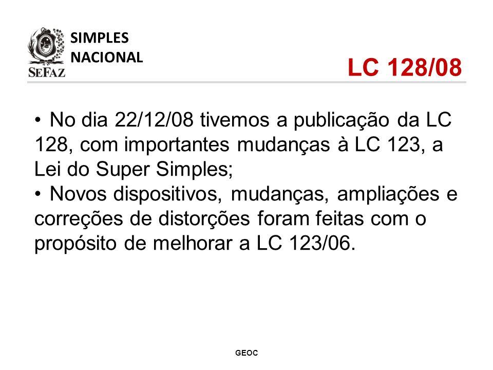 SIMPLES NACIONAL. LC 128/08. No dia 22/12/08 tivemos a publicação da LC 128, com importantes mudanças à LC 123, a Lei do Super Simples;