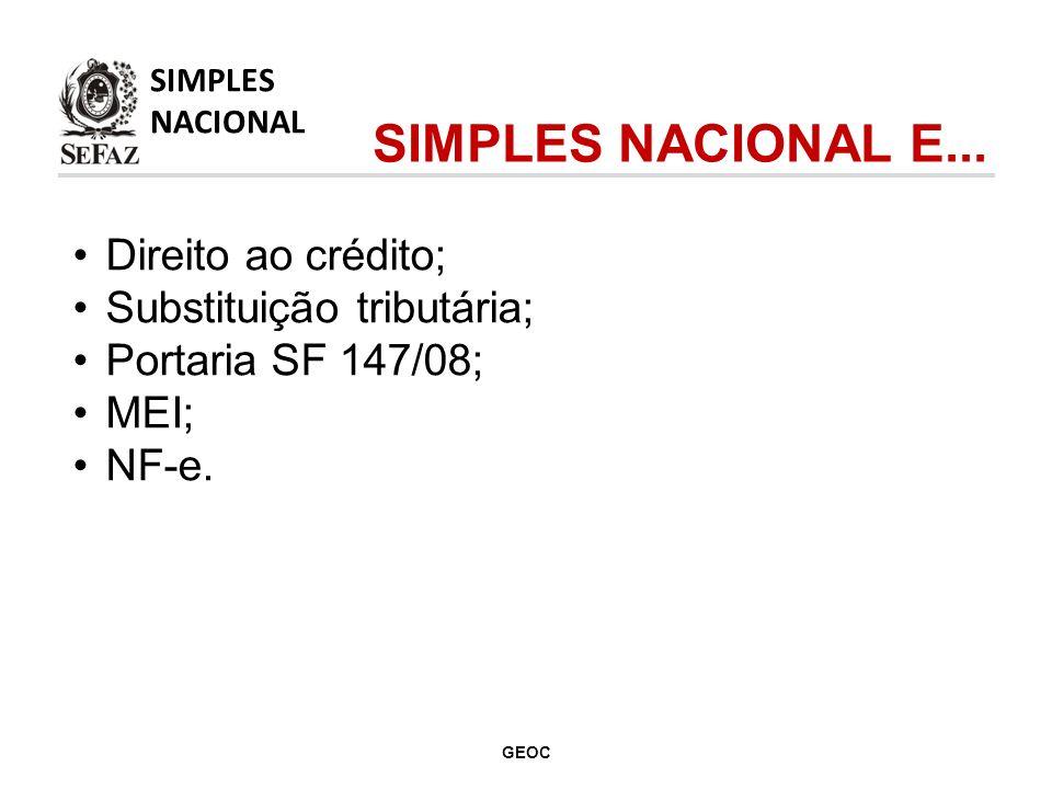 SIMPLES NACIONAL E... Direito ao crédito; Substituição tributária;