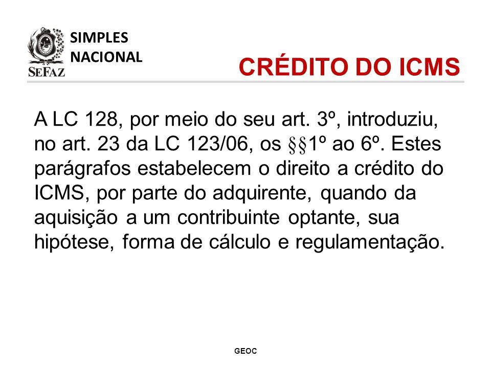 SIMPLES NACIONAL. CRÉDITO DO ICMS.