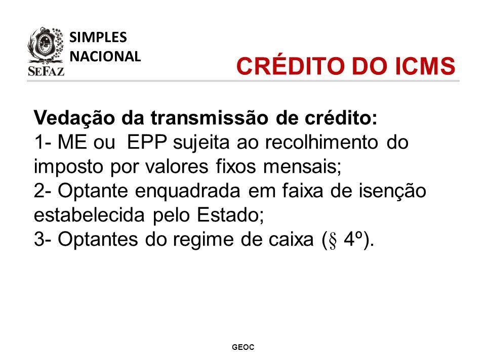CRÉDITO DO ICMS Vedação da transmissão de crédito: