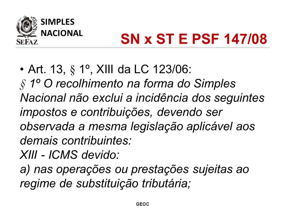 SN x ST E PSF 147/08 Art. 13, § 1º, XIII da LC 123/06:
