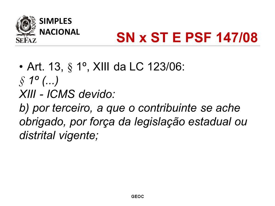 SN x ST E PSF 147/08 Art. 13, § 1º, XIII da LC 123/06: § 1º (...)
