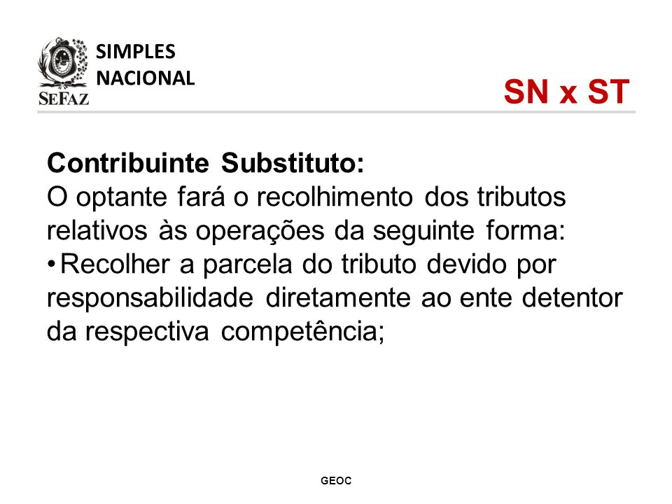 SN x ST Contribuinte Substituto: