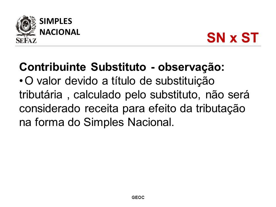 SN x ST Contribuinte Substituto - observação:
