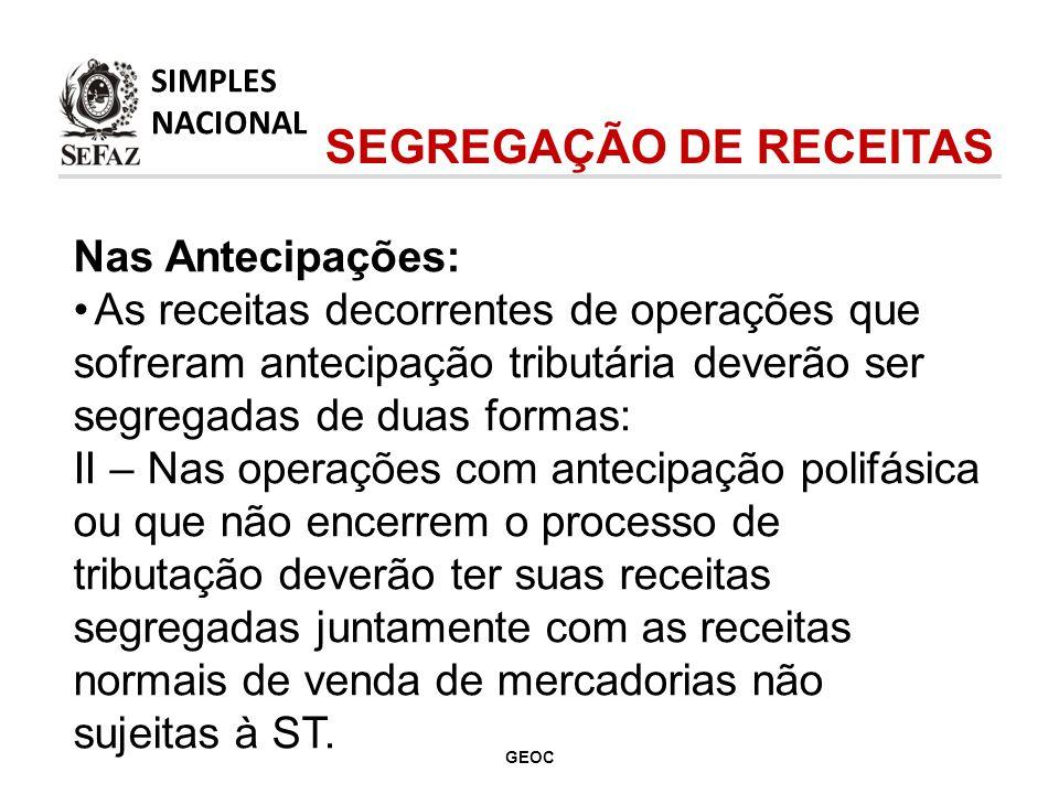 SEGREGAÇÃO DE RECEITAS