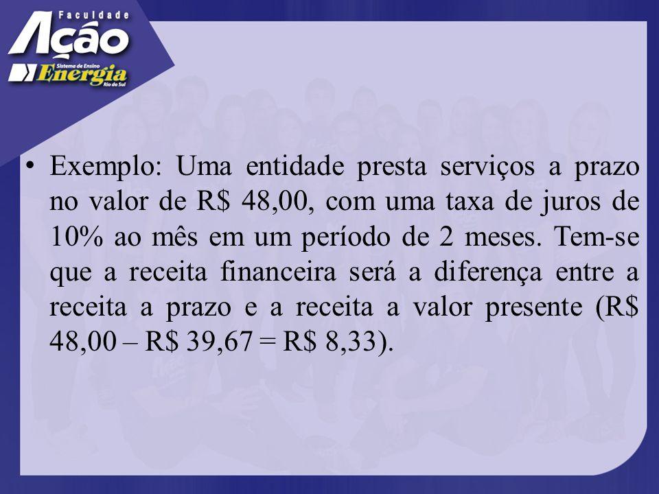 Exemplo: Uma entidade presta serviços a prazo no valor de R$ 48,00, com uma taxa de juros de 10% ao mês em um período de 2 meses.