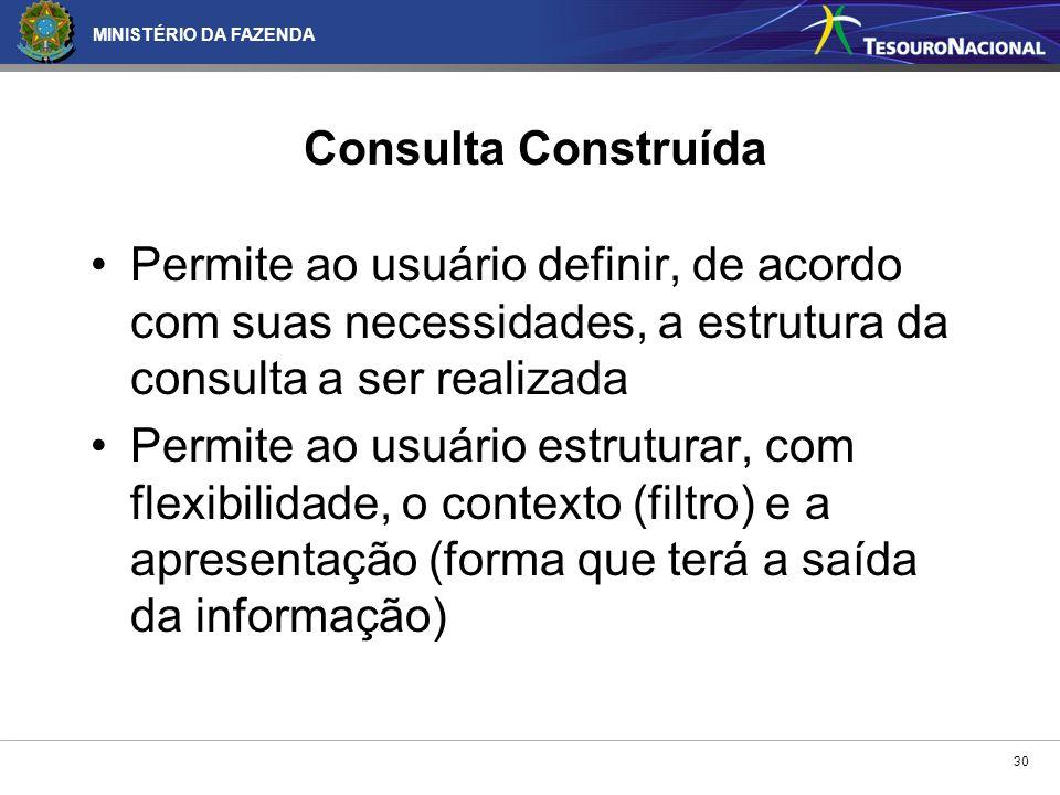 Consulta Construída Permite ao usuário definir, de acordo com suas necessidades, a estrutura da consulta a ser realizada.