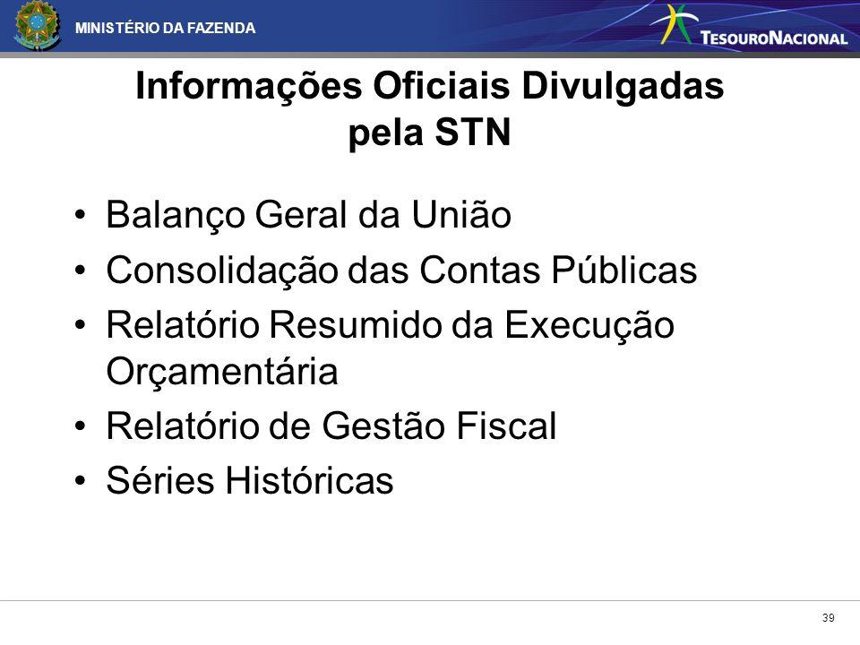 Informações Oficiais Divulgadas pela STN