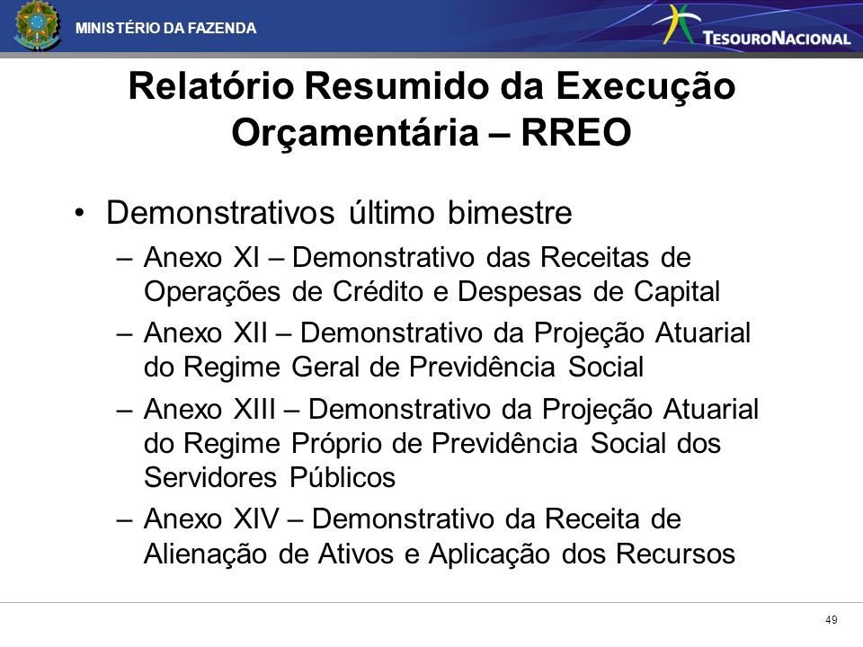 Relatório Resumido da Execução Orçamentária – RREO