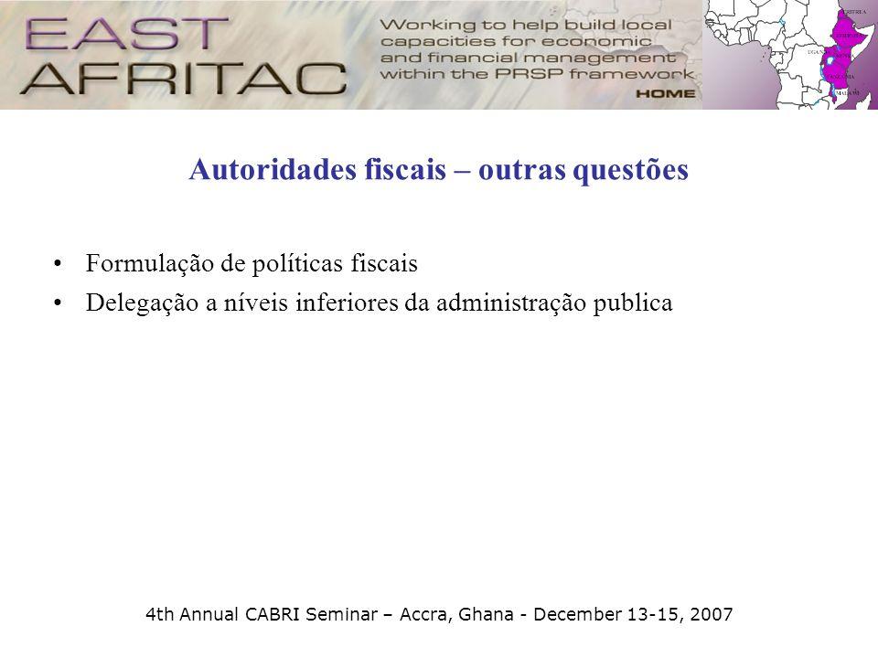 Autoridades fiscais – outras questões