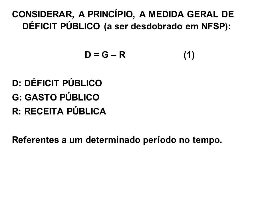 CONSIDERAR, A PRINCÍPIO, A MEDIDA GERAL DE DÉFICIT PÚBLICO (a ser desdobrado em NFSP):