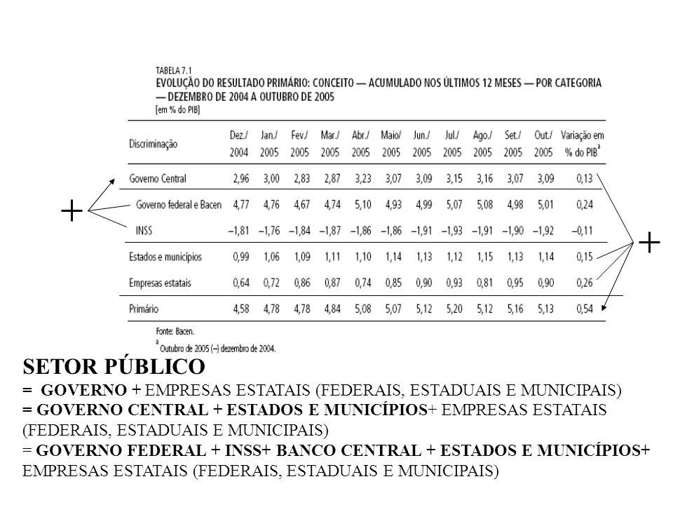 SETOR PÚBLICO = GOVERNO + EMPRESAS ESTATAIS (FEDERAIS, ESTADUAIS E MUNICIPAIS)