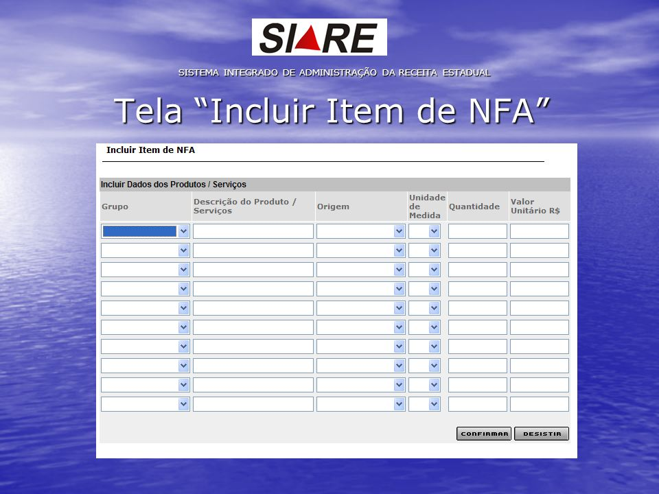 Tela Incluir Item de NFA