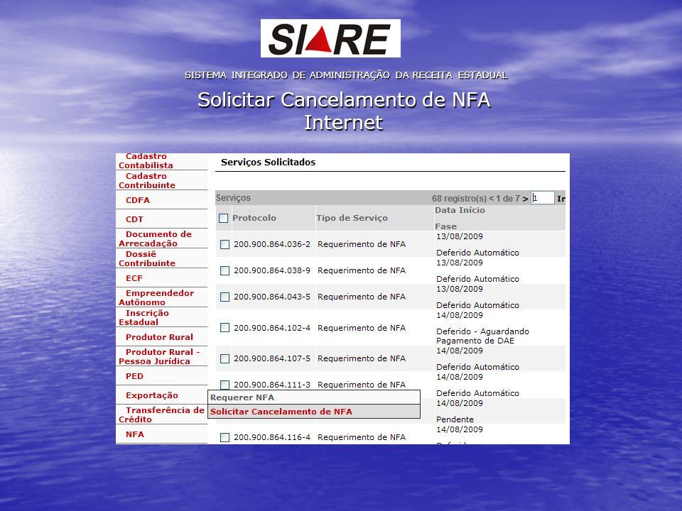 Solicitar Cancelamento de NFA Internet