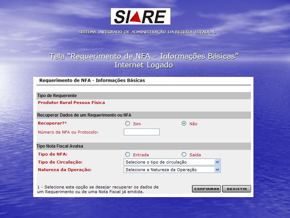 Tela Requerimento de NFA – Informações Básicas Internet Logado