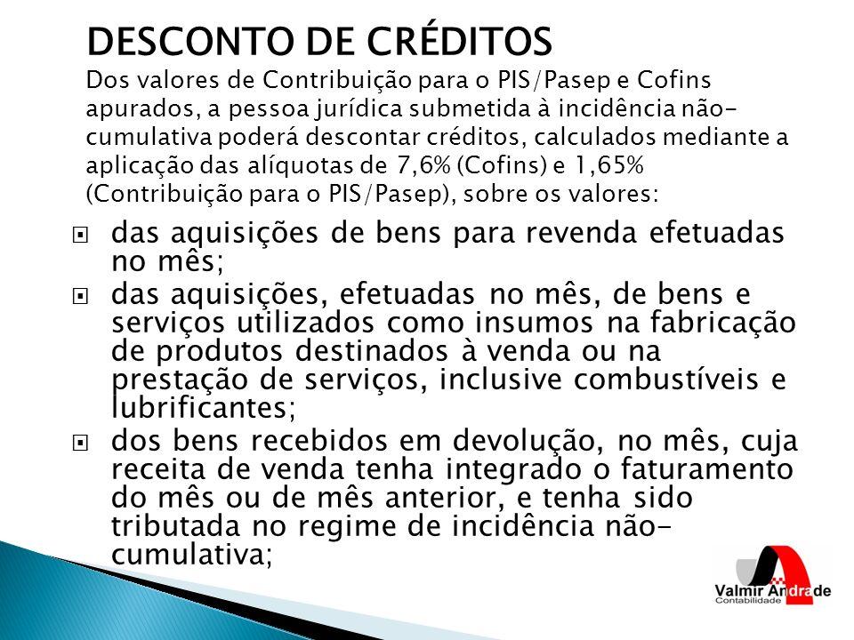 DESCONTO DE CRÉDITOS