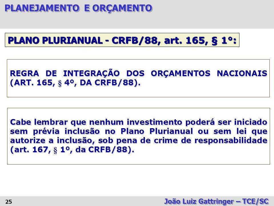 PLANO PLURIANUAL - CRFB/88, art. 165, § 1°: