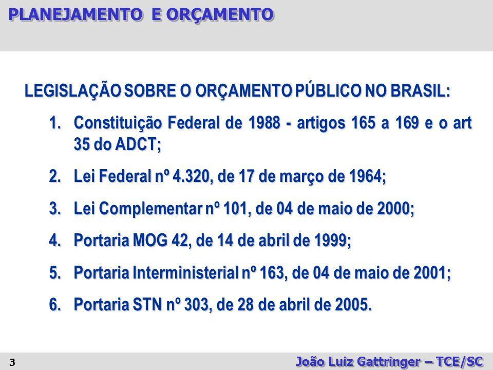 LEGISLAÇÃO SOBRE O ORÇAMENTO PÚBLICO NO BRASIL: