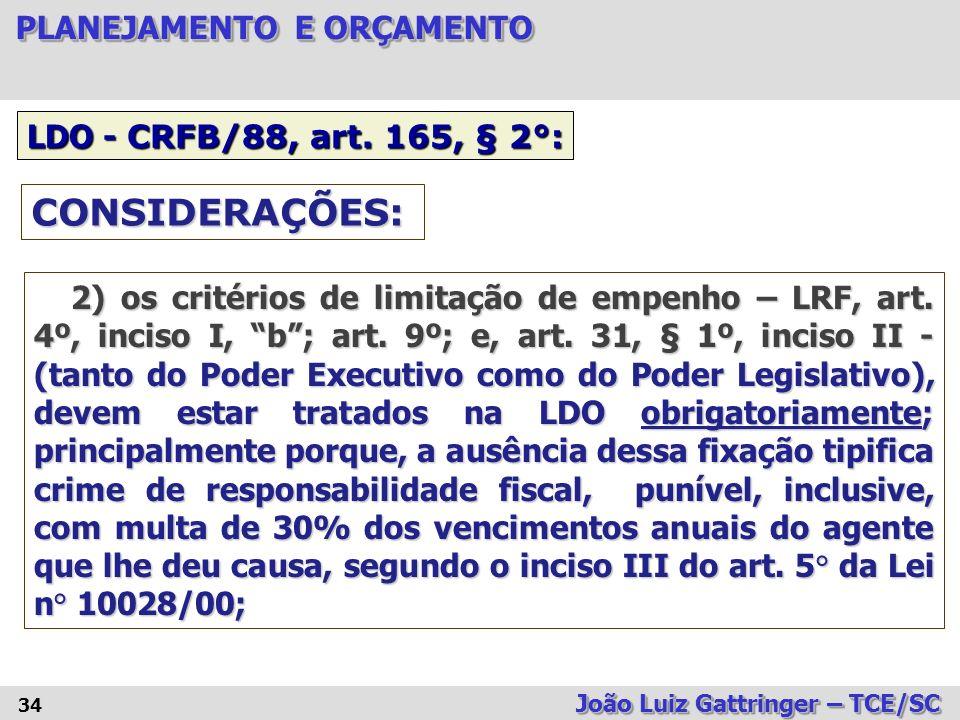 CONSIDERAÇÕES: LDO - CRFB/88, art. 165, § 2°: