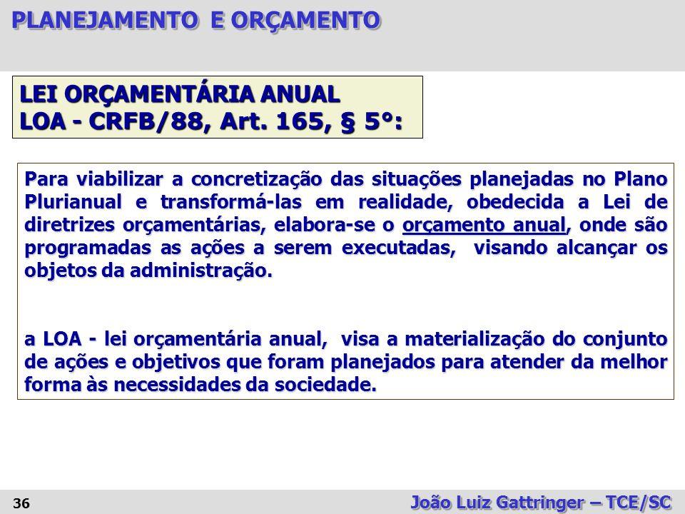 LEI ORÇAMENTÁRIA ANUAL LOA - CRFB/88, Art. 165, § 5°: