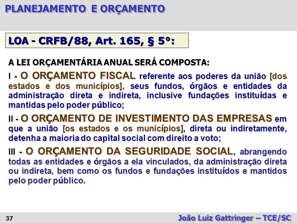 LOA - CRFB/88, Art. 165, § 5°: A LEI ORÇAMENTÁRIA ANUAL SERÁ COMPOSTA: