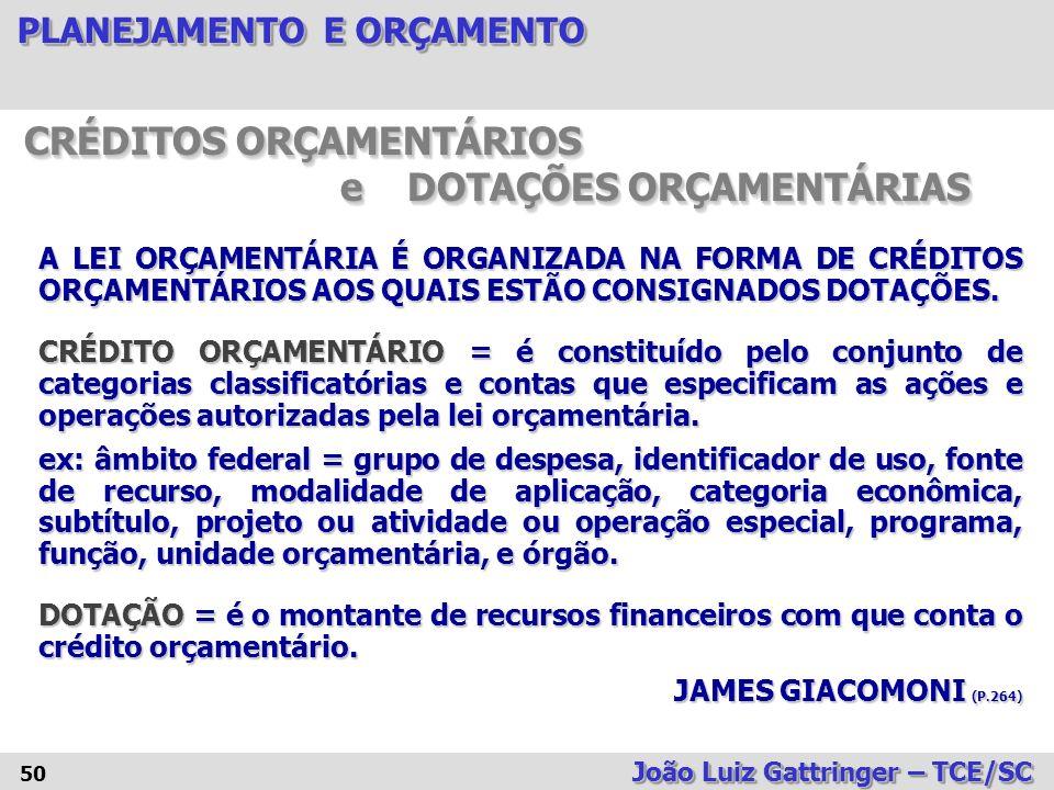 CRÉDITOS ORÇAMENTÁRIOS e DOTAÇÕES ORÇAMENTÁRIAS