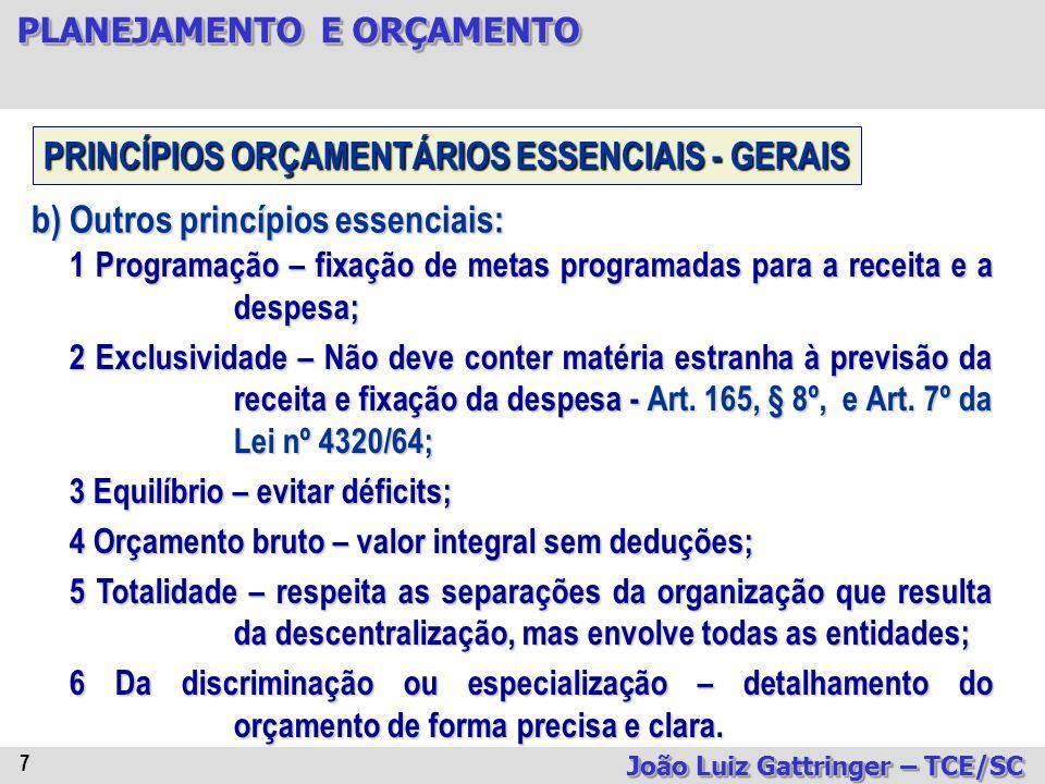 PRINCÍPIOS ORÇAMENTÁRIOS ESSENCIAIS - GERAIS