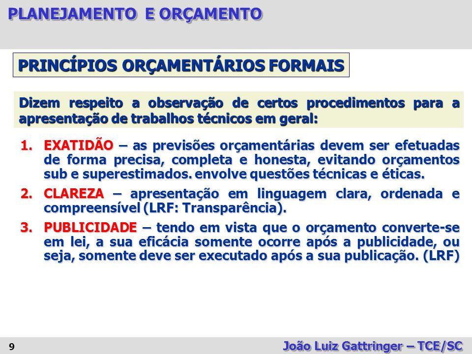PRINCÍPIOS ORÇAMENTÁRIOS FORMAIS