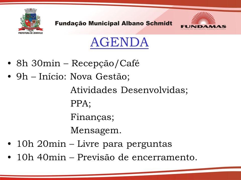AGENDA 8h 30min – Recepção/Café 9h – Início: Nova Gestão;