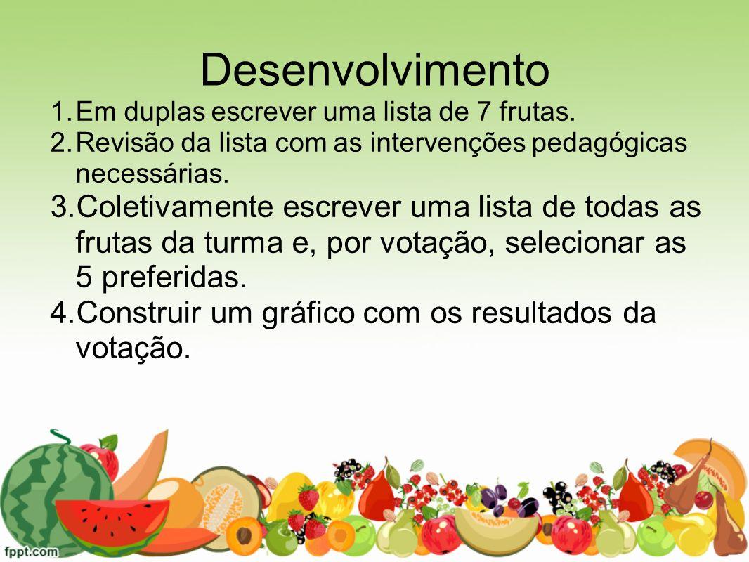 Desenvolvimento Em duplas escrever uma lista de 7 frutas. Revisão da lista com as intervenções pedagógicas necessárias.