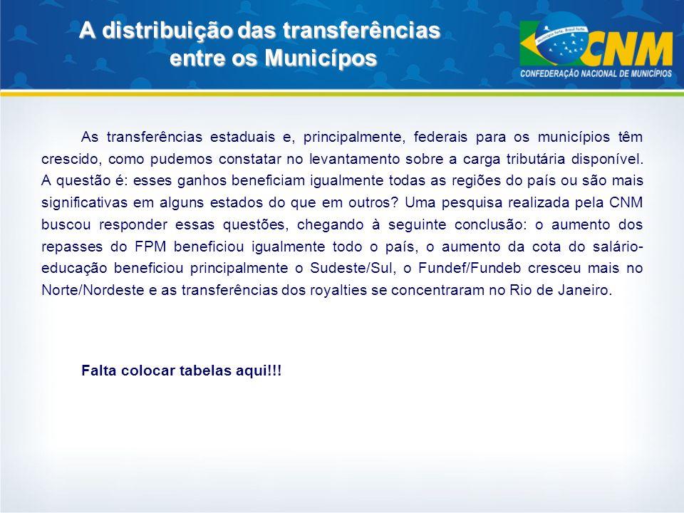 A distribuição das transferências entre os Municípos