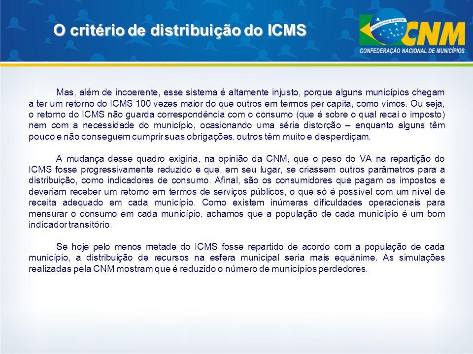 O critério de distribuição do ICMS