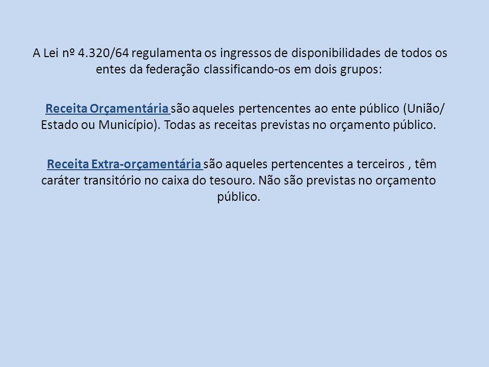 A Lei nº 4.320/64 regulamenta os ingressos de disponibilidades de todos os entes da federação classificando-os em dois grupos: