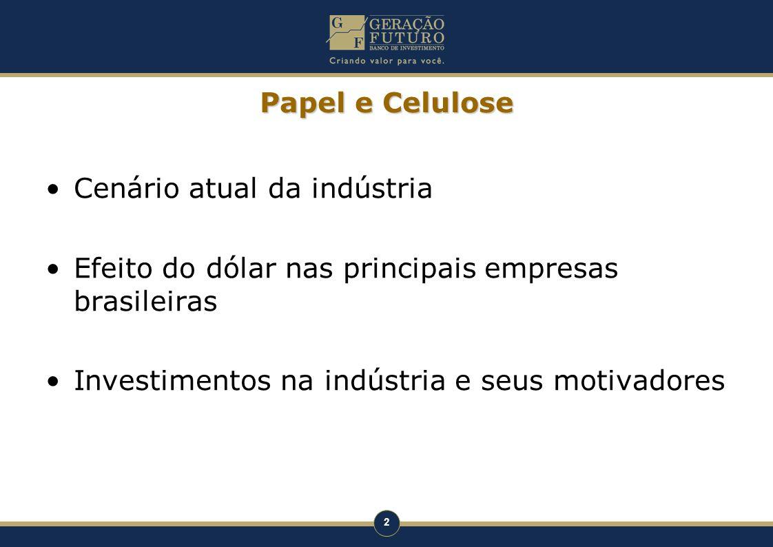 Papel e Celulose Cenário atual da indústria. Efeito do dólar nas principais empresas brasileiras.