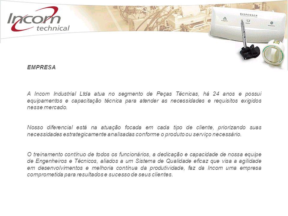 A Incom Industrial Ltda atua no segmento de Peças Técnicas, há 24 anos e possui equipamentos e capacitação técnica para atender as necessidades e requisitos exigidos nesse mercado.