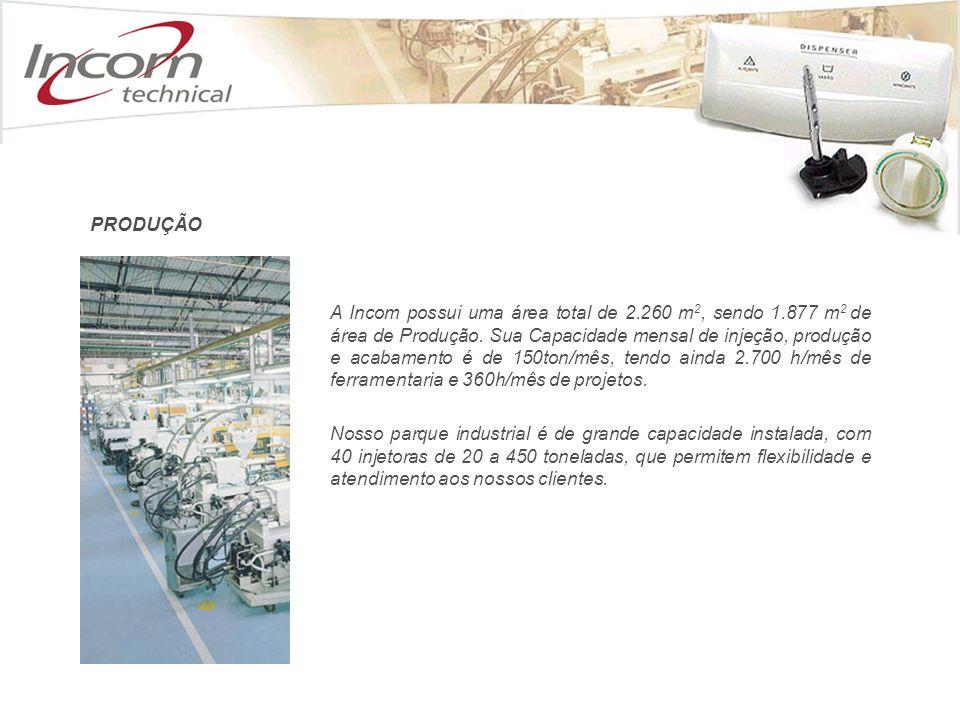 A Incom possui uma área total de 2. 260 m2, sendo 1