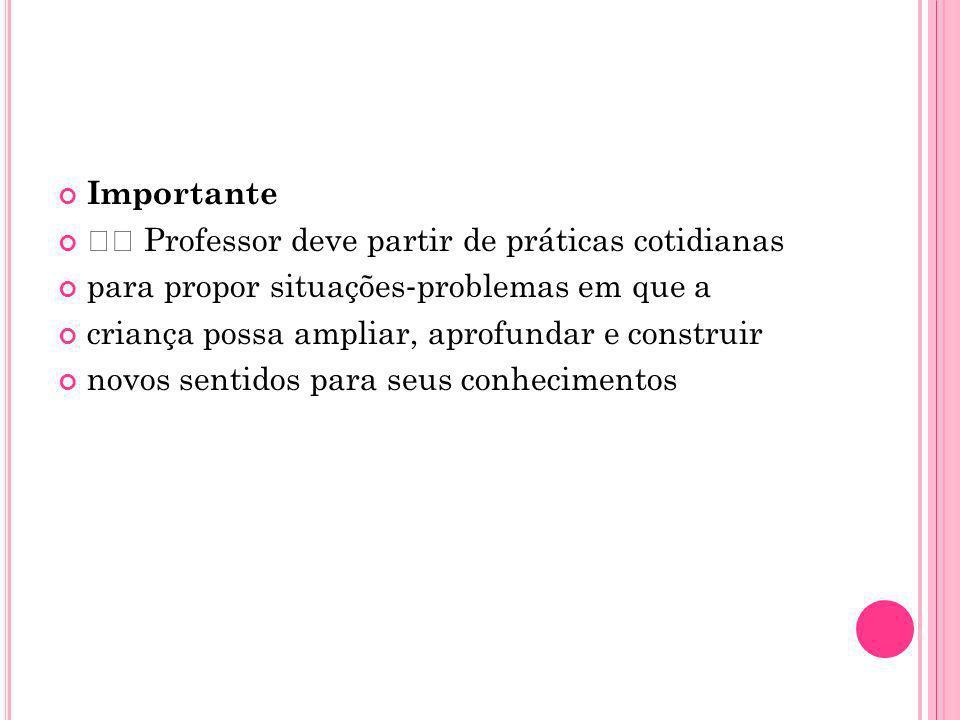 Importante  Professor deve partir de práticas cotidianas. para propor situações‐problemas em que a.