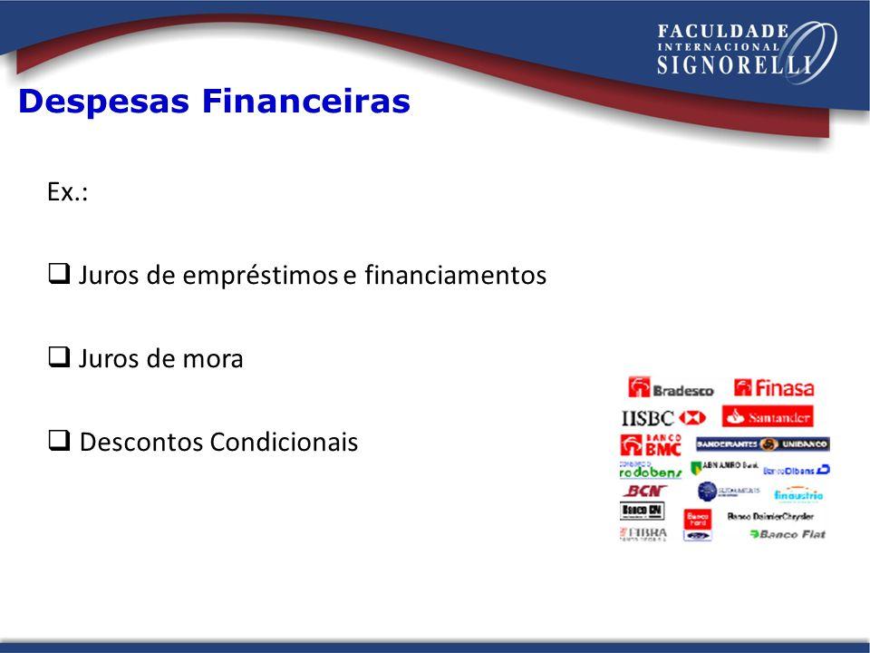 Despesas Financeiras Ex.: Juros de empréstimos e financiamentos